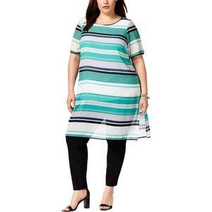 Alfani Green Striped Sheer Side Slit Tunic Top
